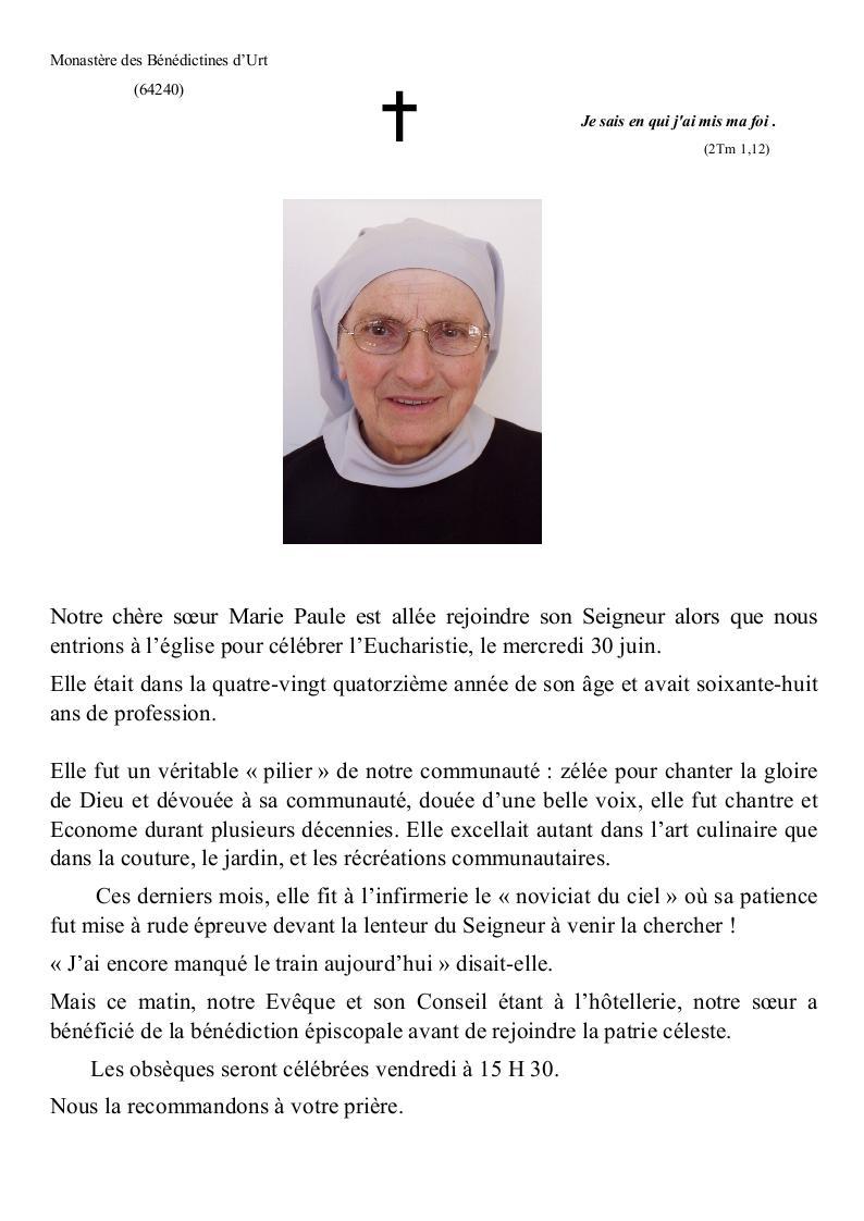 Faire part Sr Marie-Paule