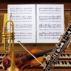 Les instruments de l'enregistrement. Sur le pupitre, le manuscrit du Veni Creator du compositeur.